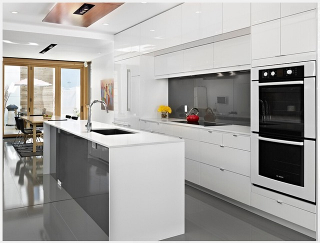 2016 nieuwe ontwerp antiek wit hoge glossy lak keukenkasten