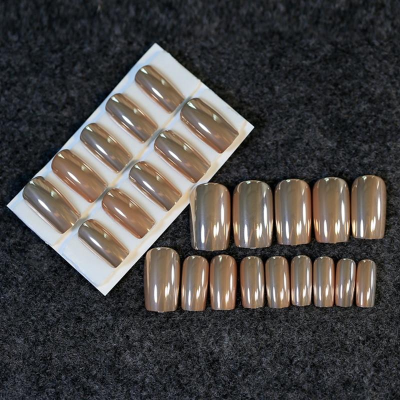 24Pcs Glossy Fake Nail Tips Metallic Tea Brown Pretty Lady False Nails Long Size Full Wrap Nail Tips Z212