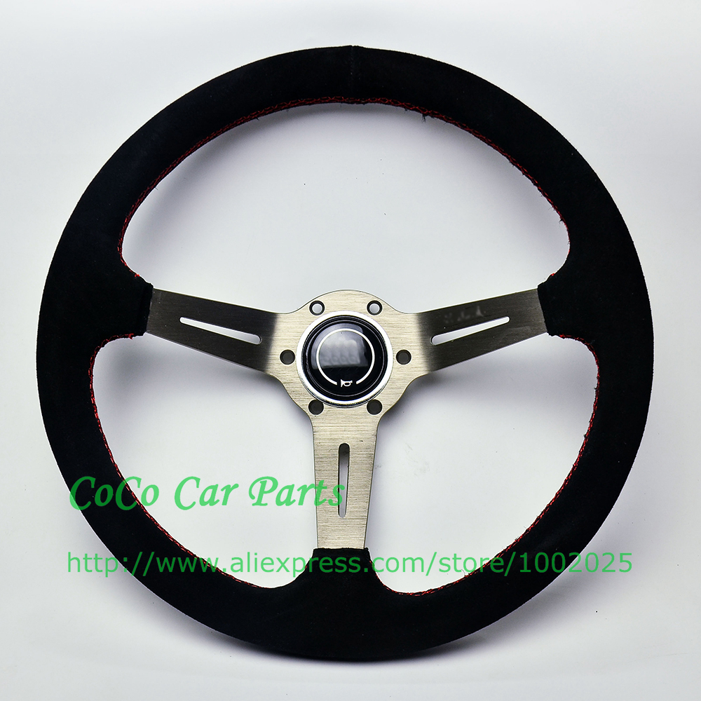 14 Inch Deep Dish Suede Leather Sport Racing Steering Wheel With Hummer Neopo Original Car 350mm Auto Titanium