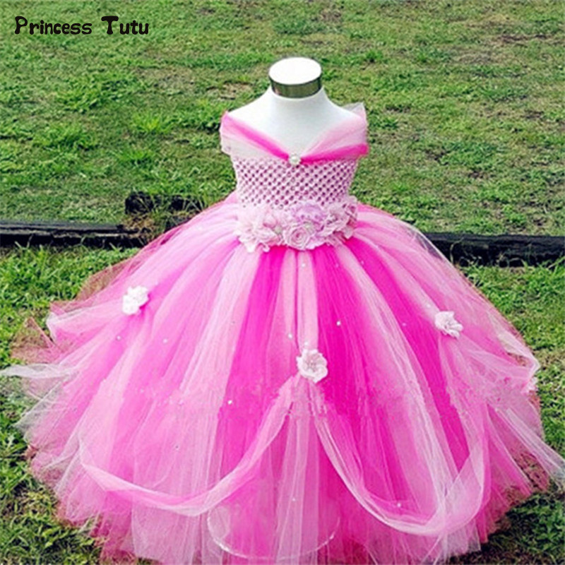 1-14Y Princess Flower Tutu Dress Girl Kids Birthday Party Dress Baby Pageant Ball Gowns for Children Wedding Dress Girl Vestido girls wedding flower girl dresses baby girl birthday party tutu dress children pageant ball gowns for girls kids princess dress
