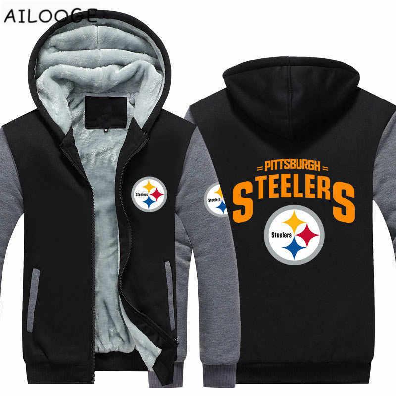 3a40ec7e0 Dropshipping Mens Thicken Hoodie Pittsburgh Steelers Fan Warm Sweatshirt  Coat Zipper Jacket Us Size