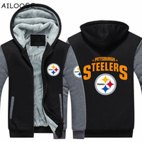 Dropshipping Mens Thicken Hoodie Pittsburgh Steelers Fan Warm Sweatshirt Coat Zipper Jacket Us Size