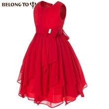 Filles net fils robe haute-fin kneee-longueur solide régulière multicolore mousseline de soie feuille de lotus irrégulière robes 930