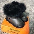 CCTWINS NIÑOS marca de invierno botas de nieve niñas botas de cuero genuino botas de piel de los bebés de la manera niños zapatos calientes rifle