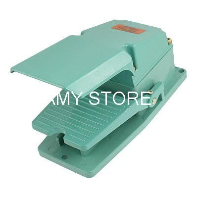 Single Action Momentary Contact Metal Foot Switch AC 250V 15A Green