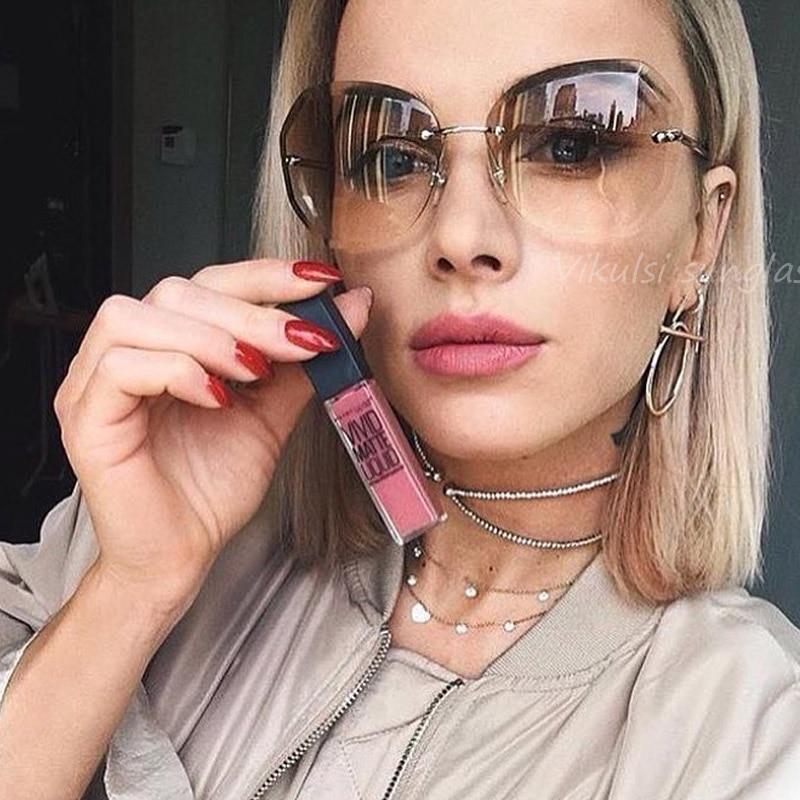 2017 Pink Gradient Rimless Sunglasses For Women Oversized Eyewear New Fashion Sun Glasses Female Summer Travel Essential UV400