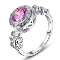 lingmei Pink White Exquisite Jewelry Gifts For Women Rings Round Cut Party Dating White Gold Color Ring Size 6 7 8 9 10