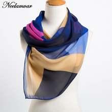 Женский шифоновый шарф с геометрическим узором тонкая шаль весна