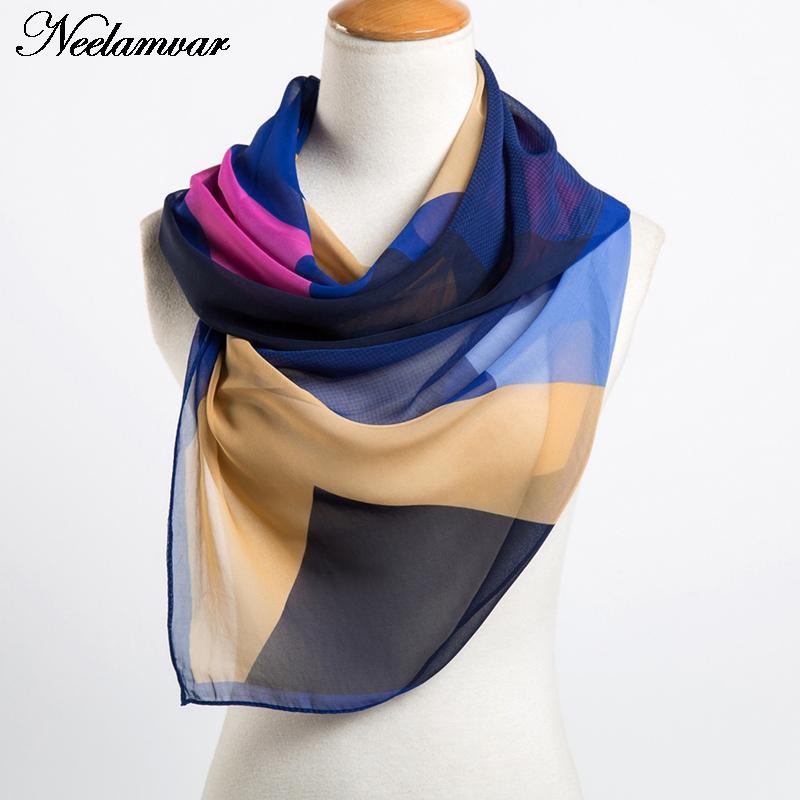 new 2018 womens spring fashion chiffon scarf geometric thin shawl in Autumn and Summer women shawl girls bufanda