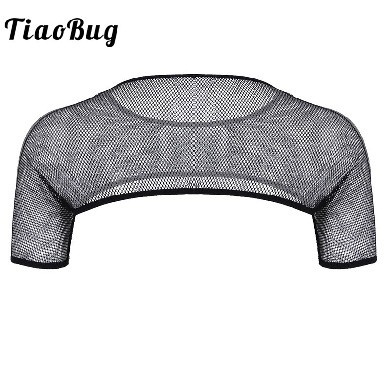 TiaoBug Mens See Through Mesh Fishnet Short Sleeve Chest Strap Harness Half Muscle Club Wear Sexy Men Gay Funny Crop   Tank     Top