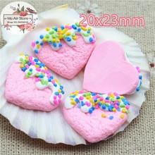 light pink Heart cake sweet dessert 30PCS 10mm polymer clay Flatback Cabochon Art Supply Decoden Charm Craft DIY free shipping
