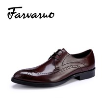 Farvarwo 2017 Men's Casual Genuine Leather Fashion Oxfords Italian Mens Flat Business Shoes for Man Lace-Up Dress Wedding Shoes