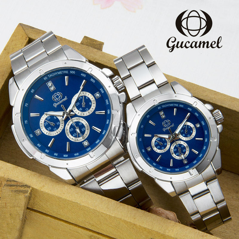 GUCAMEL New Fashion Mens Women Dress Watches Luxury Classic Waterproof Lovers Wristwatch All Stainless Steel Quartz Wrist Watch