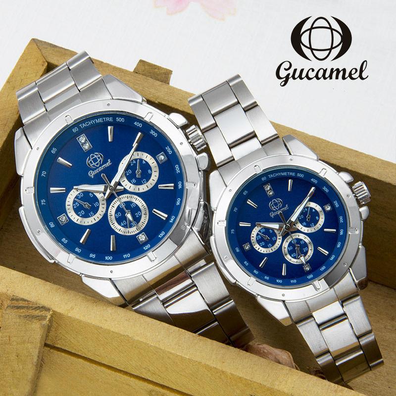 GUCAMEL New Fashion Mens Women Dress Watches Luxury Classic Waterproof Lovers Wristwatch All Stainless Steel Quartz Wrist Watch