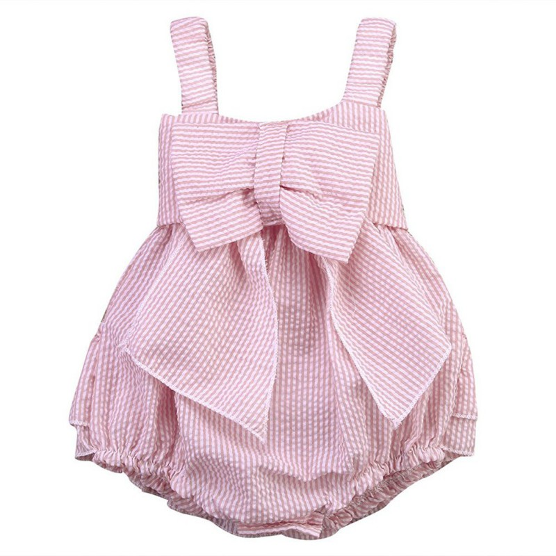 2018 New High Quality 0-24M Summer Newborn Cute Striped Bubble yarn Pink Baby Dress girl party dress newborn baby girl dress