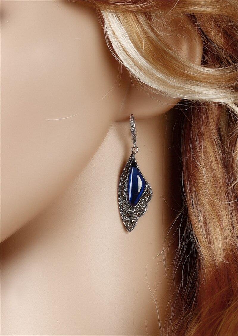 BESTLYBUY véritable 925 argent Sterling rouge/bleu corindon pierre goutte boucle d'oreille S925 Thai argent boucles d'oreilles femmes bijoux