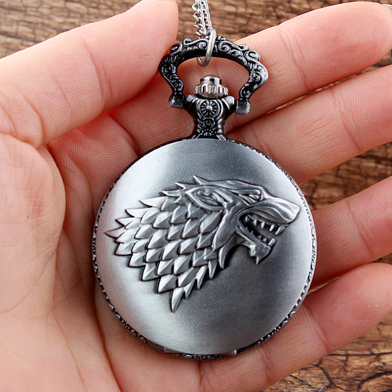 Vintage Game Of Thrones Theme Woof Lino Pattern Quartz Pocket Watch With Chain Pendants Gifts For Children Men Women