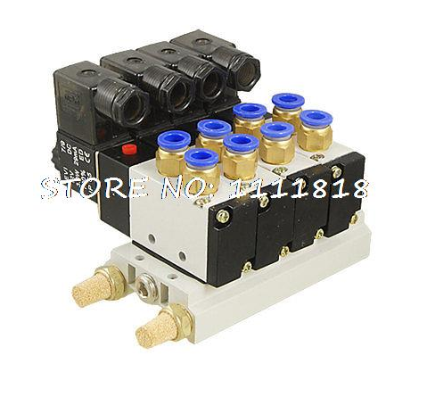 3 pcs DC 12V 5/16 Quick Fitting 2 Position 4 Solenoid Valve w Base Muffler dc 12v 5 16 quick fitting 2 position 5 solenoid valve w base muffler