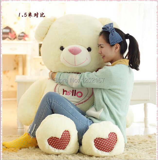 new 150cm life size teddy bears doll plush toys large giant big teddy bear for sale valentine 39 s. Black Bedroom Furniture Sets. Home Design Ideas