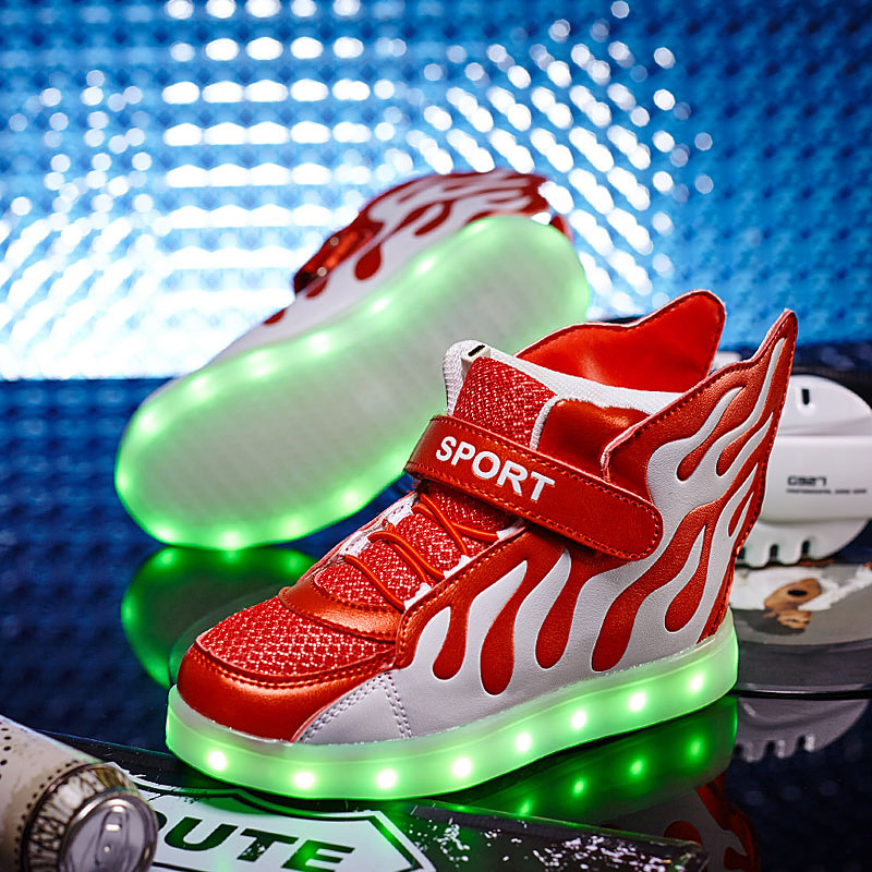 New Children Breathable Sneakers Fashion Sport Led Usb Luminous Lighted Shoes for Kids Running Boys Casual Girls Flats 2017 new fashion kids leather sport shoes teenager breathable sneakers children shoes for girls boys non slip kids running shoes