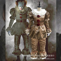 tephen King's It Pennywise Cosplay Costume Adult Unisex Women Clown costume suit Custom made fancy Halloween costume