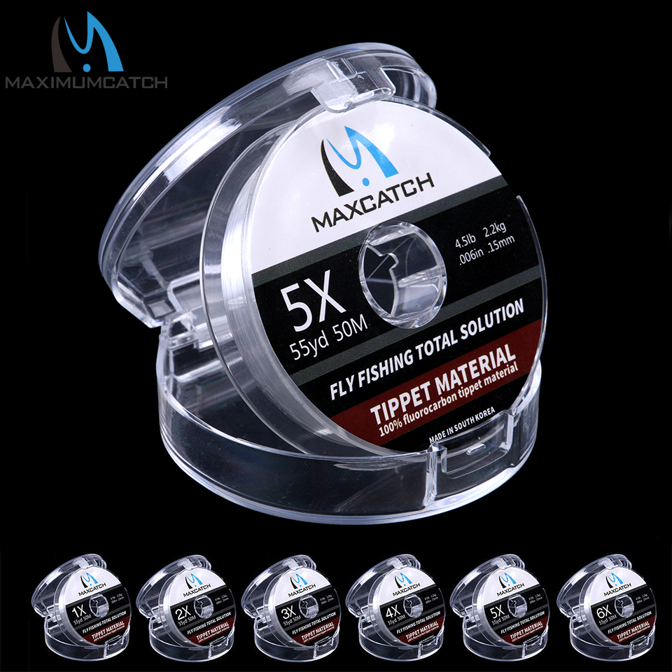 Maximumcatc 100% Pure Fluorocarbon Fishing Line 4-12LB Test Carbon Fiber Leader Fly Line Fast Sinking 25/50M