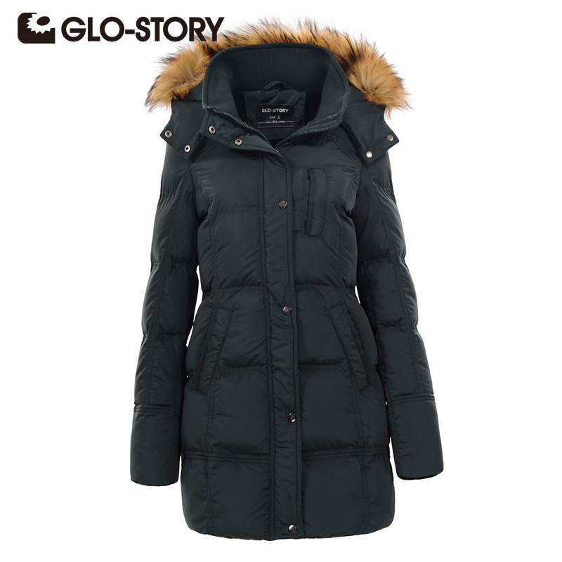 GLO-STORY 2017 Women Long Jacket Winter Thick Warm Fur Collar Hooded Detachable Coat Female padded Casual High Quality Overcoat women winter coat leisure big yards hooded fur collar jacket thick warm cotton parkas new style female students overcoat ok238