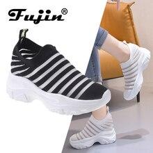 Fujin/женская повседневная обувь на плоской подошве; дышащая сетчатая тканая обувь; Прямая поставка; сетчатая обувь; носки для ленивых студентов