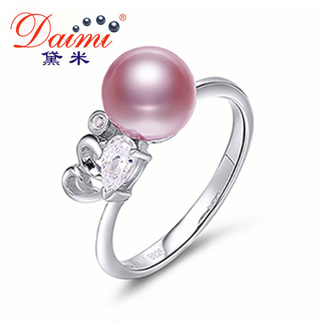 DAIMI Purple Ring High Quality 7-8mm Freshwater Pearl Ring 925 Sterling Silver Ring New Style Gift For Women