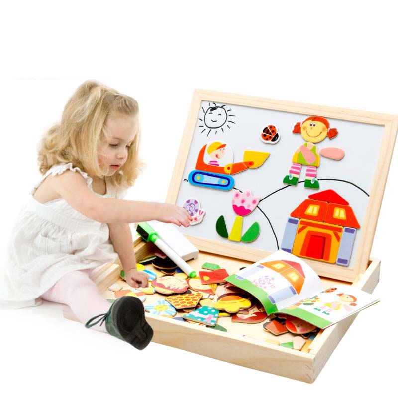Деревянные магнитные мультфильм Классная доска Чертёжные доски характер головоломки Детская игрушка-головоломка
