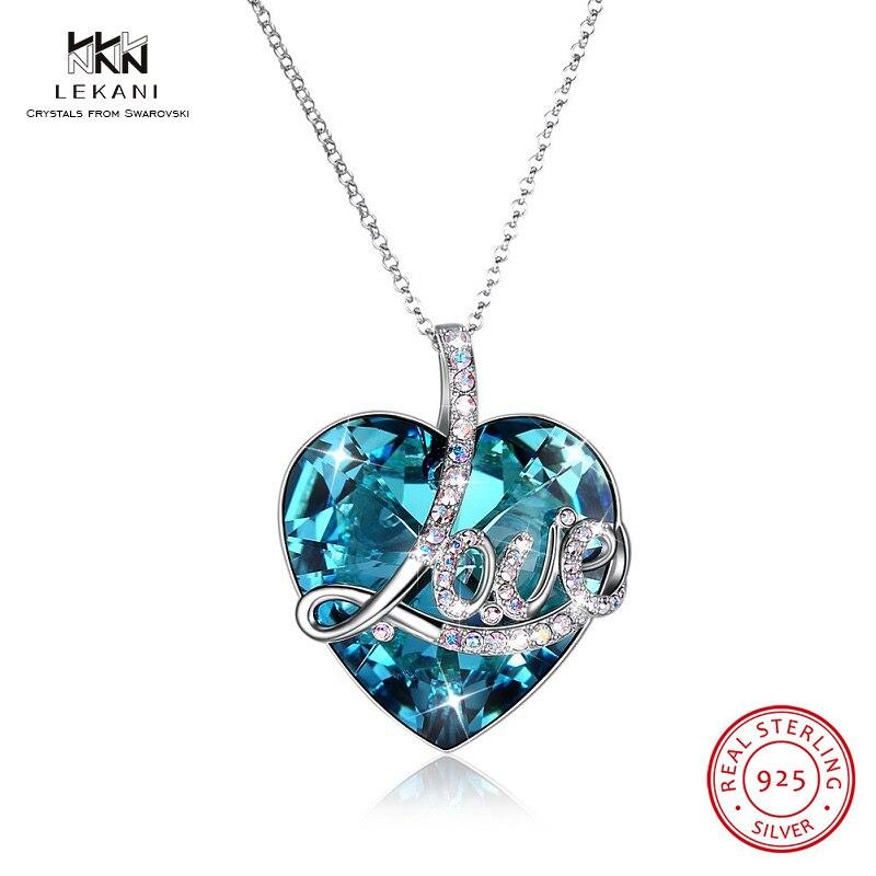 LEKANI cristaux de Swarovski collier 925 mode Blu-ray bijoux pendentif dames collier amour bleu en forme de coeur strass