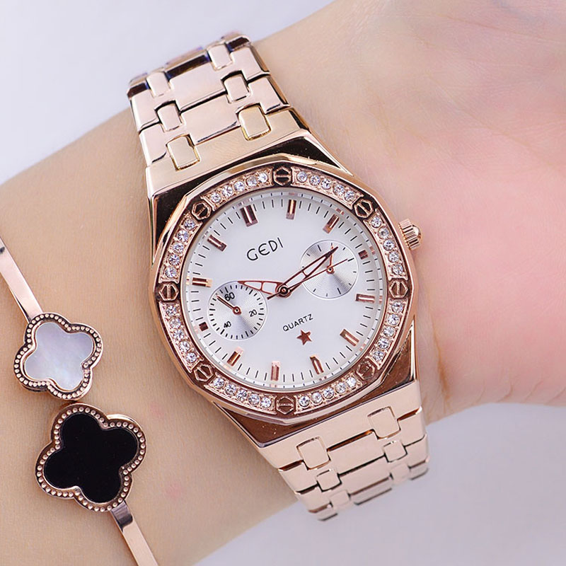 GEDI Fashion Rose Gold Dress Watches Women Top Luxury Brand Ladies Decorated Dials Quartz Watch Relogio Feminino Hodinky XFCS fashion rose gold retro watches women top luxury brand ladies quartz watch famous watch new clock relogio feminino hodinky xfcs