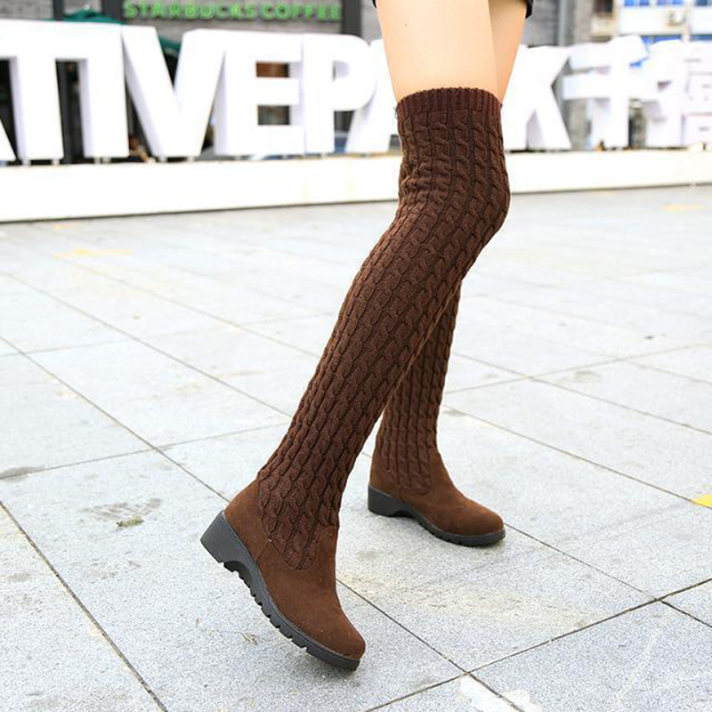 Women's Boots 2019 Autumn Winter Thigh High Boots For Woman Shoes Knitting Wool Long Boot Women Brown/Black Boot Ladies Shoes