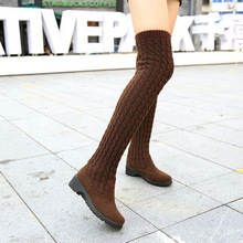 Womens Boots 2019 Autumn Winter Thigh High Boots For Woman Shoes Knitting Wool Long Boot Women Brown/Black Boot Ladies Shoes