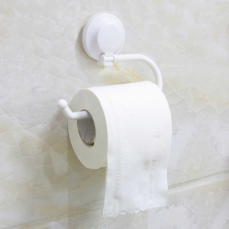 Plastic Suction Up Paper Towel Holder For Kitchen Toilet Roll Bathroom Wall Mount Toilet