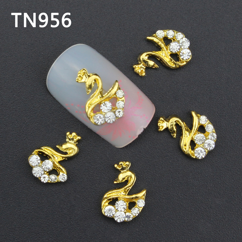 10pcs Glitter Swan Rhinestones 3d Nail Art Decorations, Alloy Nail Sticker Charms Jewelry for Nail Gel/Polish Tools TN956 10pcs pack glitter green rhinestones nail art decorations alloy 3d nail jewelry charms nails tools free shipping