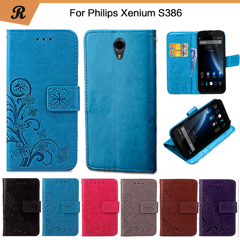 Newest For <font><b>Philips</b></font> <font><b>Xenium</b></font> <font><b>S386</b></font> Factory Price Luxury Cool Printed Flower 100% Special PU Leather Flip case with Strap image