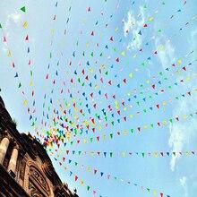 80 м красочные треугольные флаг День рождения Вымпел флаг баннер Свадебные домашнего декора событий поставки Mayitr