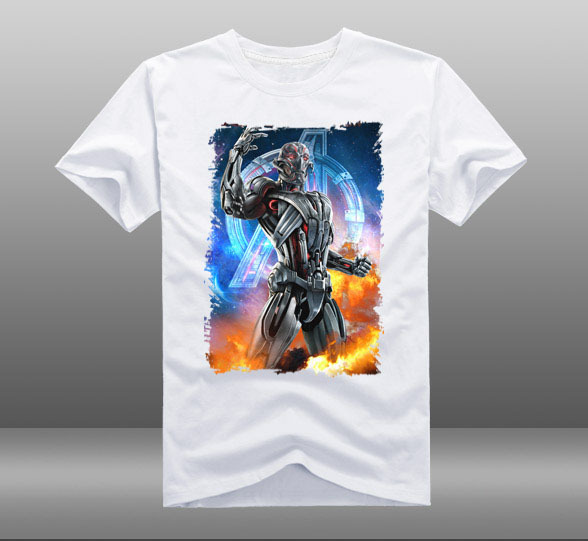 2015 Movie Avengers 2 Age of Ultron Characters Superheros T-shirts Printed Mens Cotton Short Sleeve Tops Tee Shirts Clothing