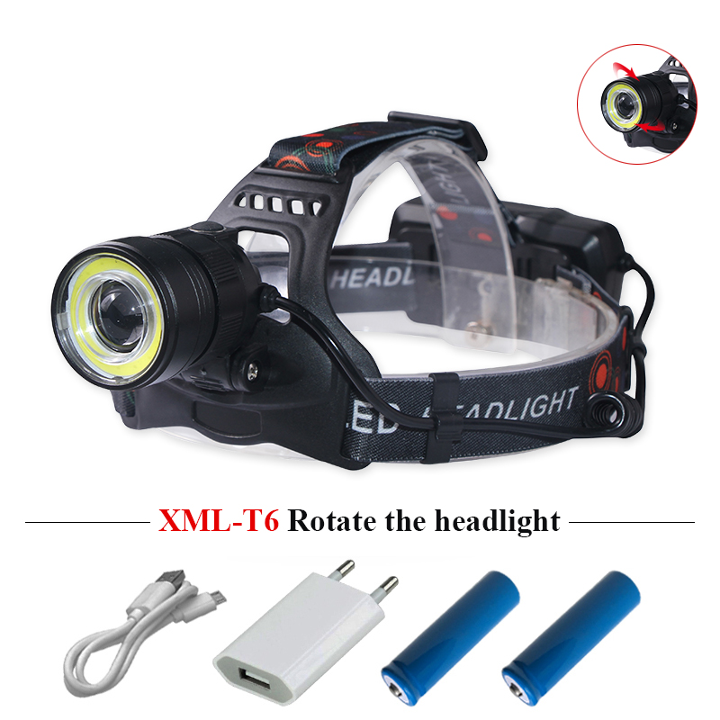 USB Super Headlight Rechargeable T6 COB 18650 LED Headlamp 4 Modes Zoomable Foucs Head Torch HEAD Lamp lampe frontale Head Light usb rechargeable headlight cob led headlamp 3 modes head torch flashlight for camping use 2 18650 batteries