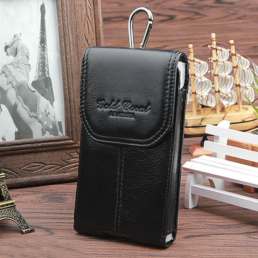 100% Cowhide Genuine leather Male Waist Bags Vintage Black Purse Pouch 5.3/5.5/5.7/6 Inches Mobile Cell Phone Case Belt Bag купить