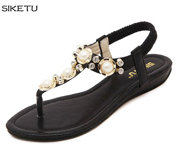 2017 new summer beading sandals shoes women pink gold silver black sexy flats lady female JF008 sandals shoes beaded shoe