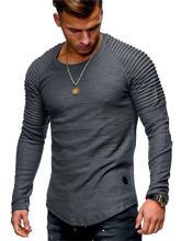 MarKyi 2019 new brand desginer fold camisetas hombre hot long sleeve men t shirt slim fitness o-neck stranger things