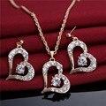 2016 Горячее Сердце Форма Ожерелье Серьги Ювелирные Изделия Оптовая Новый Модный 18 К Настоящее Позолоченные Горный Хрусталь Африканских Ювелирные Наборы
