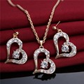 2016 Hot Heart Shape Pendant Necklace Earrings Jewelry Wholesale New Trendy 18K Real Gold Plated Rhinestone African Jewelry Sets