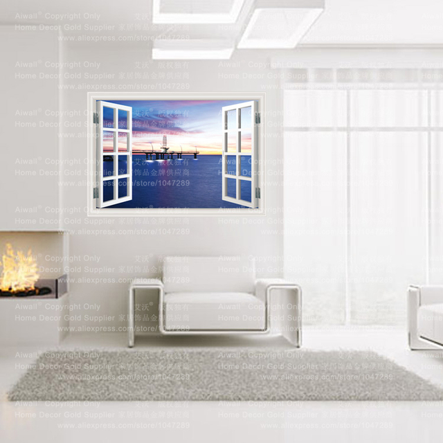 9 Styles 3020 Removable Beach Sea 3D Window Scenery Wall Sticker home Decor Decals Mural  Decal Exotic Beach View Free Shipping