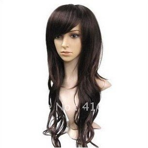 cosplay wig APH black Thalia | dark brown long curly hair air volume