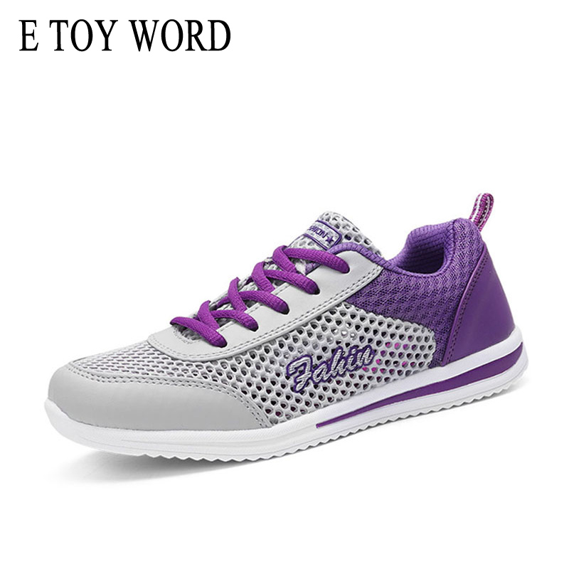 E TOY WORD Women Shoes Breathable Mesh hollow women sneakers Network Soft Lightweight Flat Shoes students Zapatillas Mujer in Women 39 s Vulcanize Shoes from Shoes