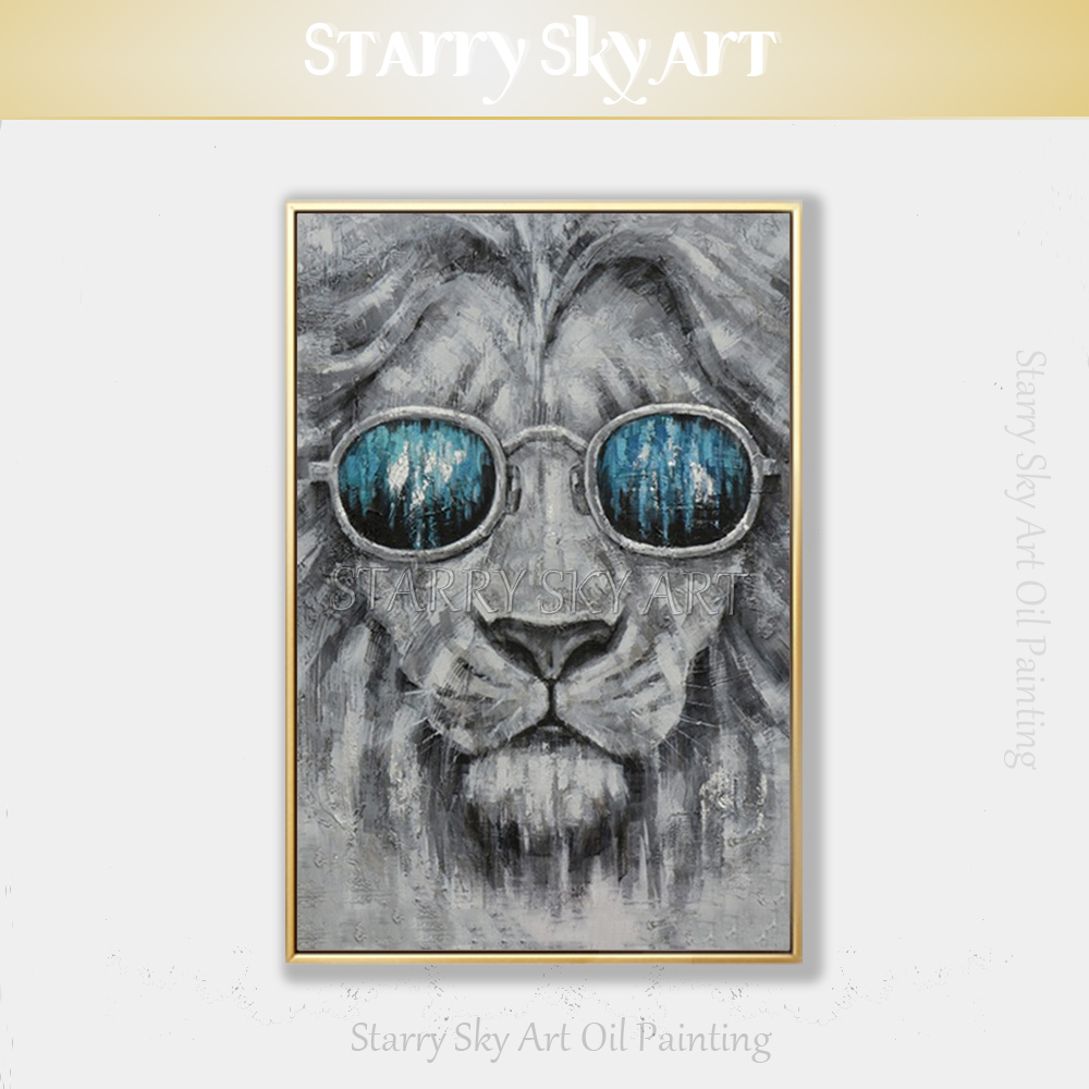 Handmade High Quality Modern Abstract Lion with Glasses Oil Painting on Canvas Pop Fine Art Animal Lion and Tiger Oil Painting
