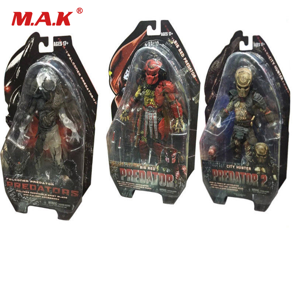 7inches 18cm NECA Alien vs Predator City Hunter/Big Red/Falconer Predator PVC Figure Model Collection Model Toy free delivery of genuine neca predator alien p1 ganso soldier elder predator model